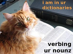 i am in ur dictionaries, verbing ur nounz