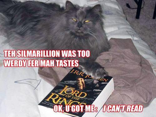 The Silmarillion was too werdy fer mah tastes. Ok, u got me: I can't read