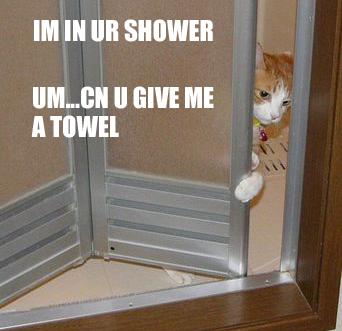 im in ur shower. Um... cn u give me a towel?